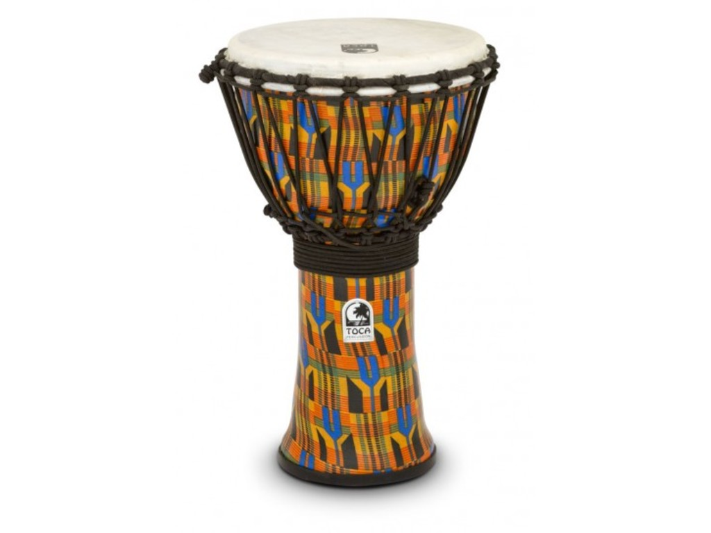"Djembe Toca Percussion SFDJ-9K, Freestyle Serie, 9"", hoogte 16 1/2"", Synthetische Shell, Rope Tuned, Kente"