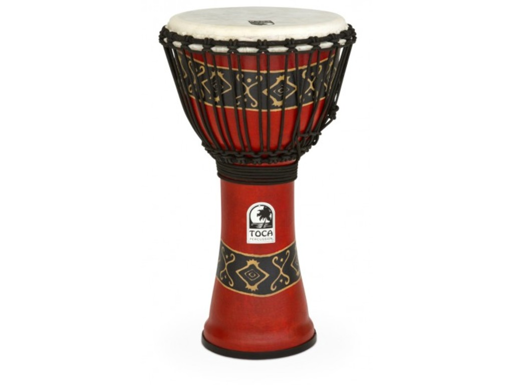 "Djembe Toca Percussion SFDJ-10RP, Freestyle Serie, 10"", Hoogte 20"", Synthetische Shell, Rope Tuned, Bali Rood"