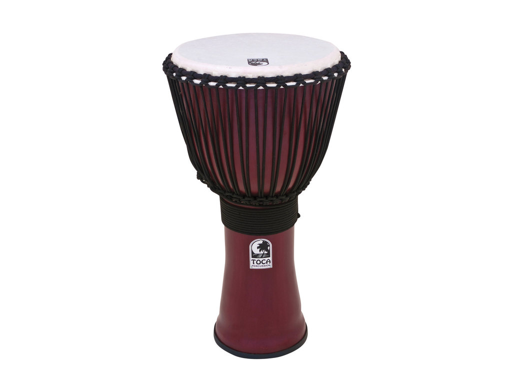 "Djembe Toca Percussion TF2DJ-12R, Freestyle II Serie, 12"", Hoogte 24"", Synthetische Shell, Rope Tuned, Donkerrood"