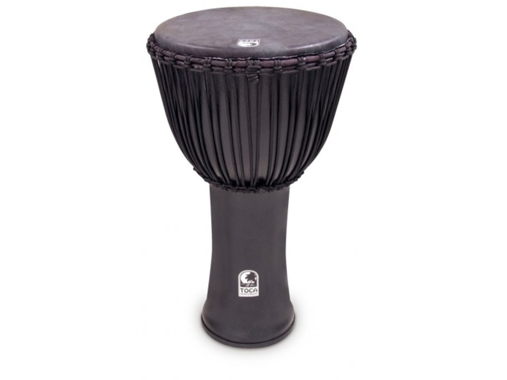 "Djembe Toca Percussion SFDJ-14BMB, Toca Black Mamba, 14"", Hoogte 26"", Synthetische Shell, Rope Tuned, Zwart"