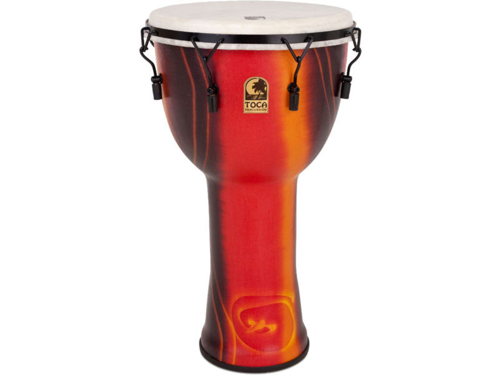 "Djembe Toca Percussion SFDJMX-14FB, Synergy Freestyle Serie, 14"", Hoogte 26"", Sythetische Shell, Mechanically tuned, Fiesta"