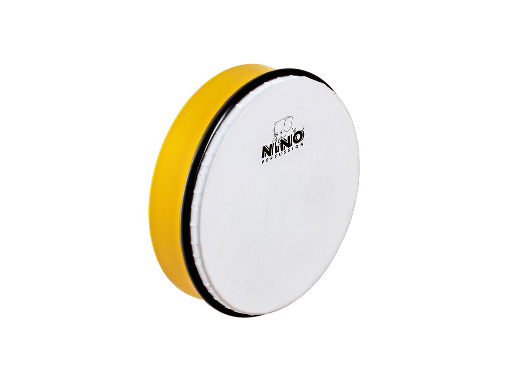 "Hand Drum Nino 45Y, ABS Hand Drum, yellow, 8"", Sythetisch Head, including wooden beater"