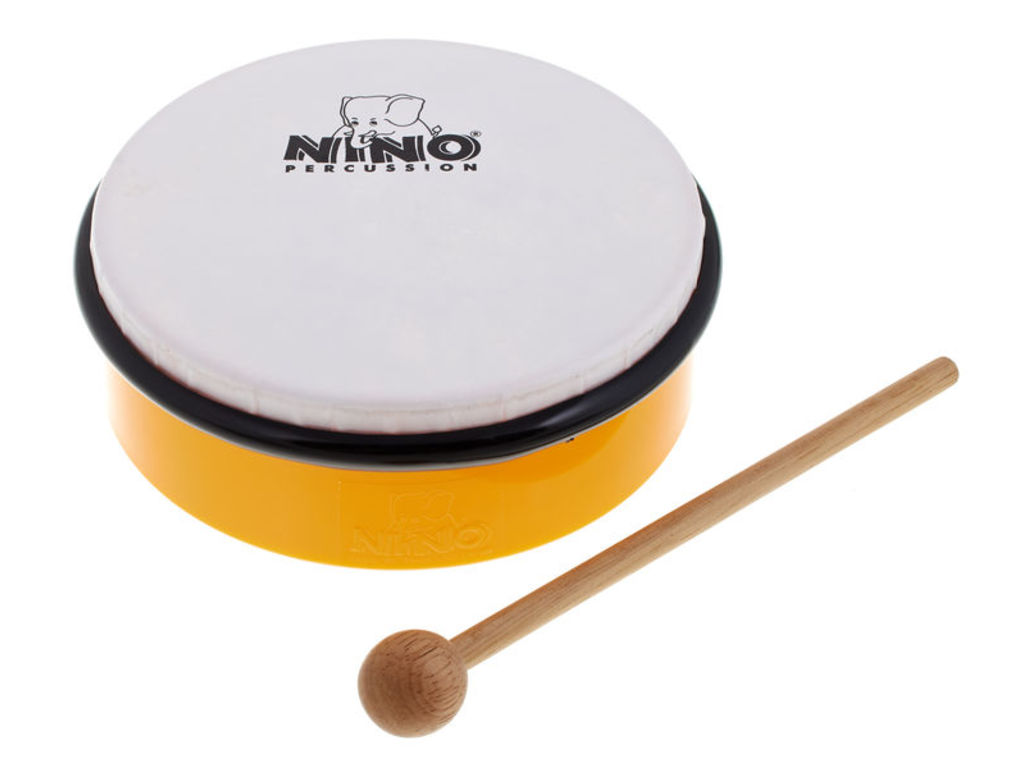 "Hand Drum Nino 4Y, ABS Hand Drum, yellow, 6"", Sythetisch Head, including wooden beater"