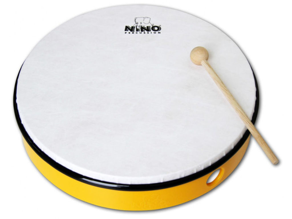 "Hand Drum Nino 5Y, ABS Hand Drum, yellow, 10"", Sythetisch Head, including wooden beater"