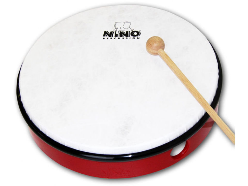 "Hand Drum Nino 6R, ABS Hand Drum, Red, 12"", Sythetisch Head, including wooden beater"