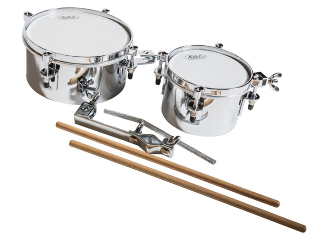 "Timbales Adams TTI-68C, Mini Timbales Set 6"" + 8"", Chrome Hardware, inclusief houder en stokken"