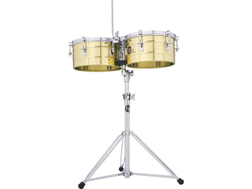 "Timbales LP255-B, LP Tito Puente Timbales, 12"" & 13"", 6 1/2"" Diep, Messing Shells, inclusief statief"