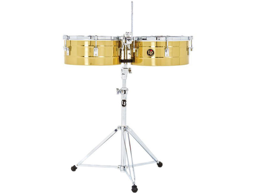 "Timbales LP256-B, LP Tito Puente Timbales, 13"" & 14"", 6 1/2"" Diep, Messing Shells, inclusief statief"