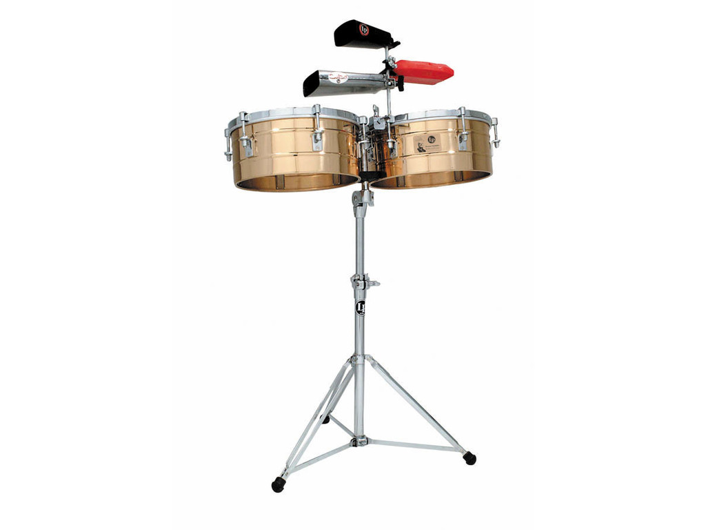 "Timbales LP257-B, LP Tito Puente Timbales, 14"" & 15"", 6 1/2"" Diep, Messing Shells, inclusief statief"