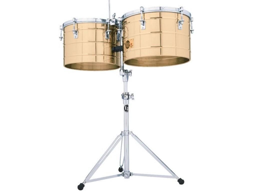 "Timbales LP258-B, LP Tito Puente, Thunder Timbales, 15"" & 16"", 10"" Diep, Messing Shells, inclusief statief"