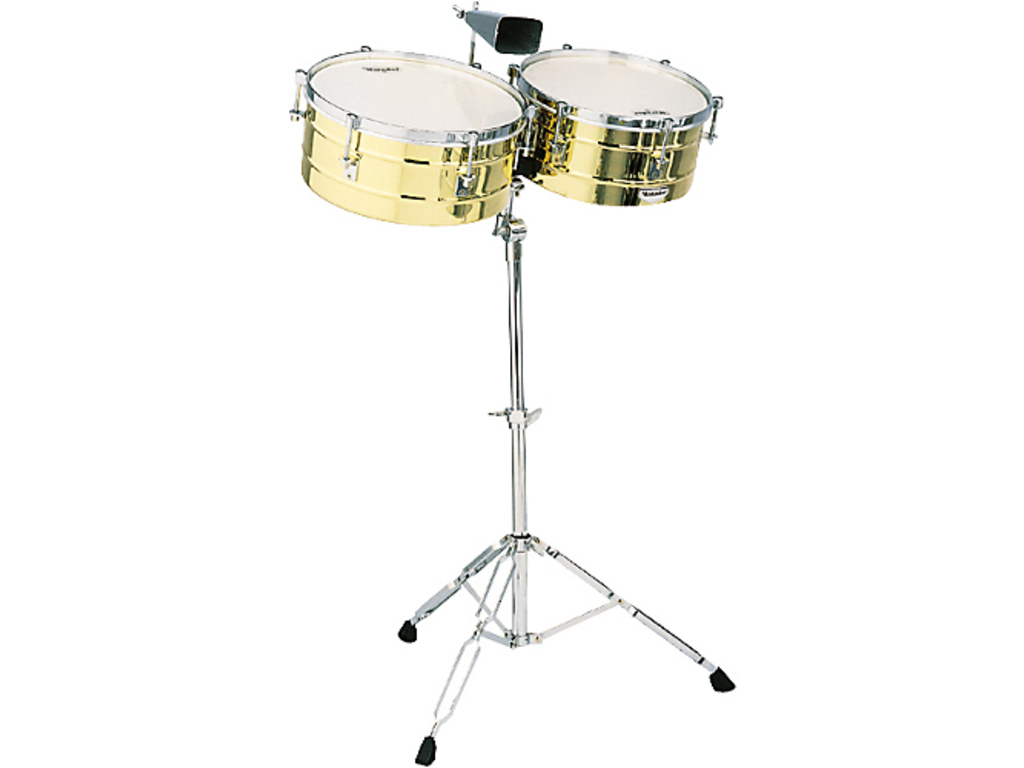 "Timbales LP M257B, LP Matador Timbales, 14"" & 15"", 6 1/2"" Diep, Messing Shells, Chroom Hardware, inclusief statief"