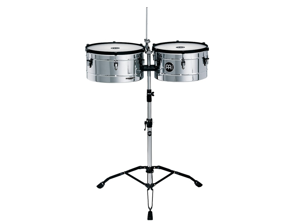 "Timbales Meinl MT1415CH, Marathon Serie, 14"" & 15"", Roestvrij Staal, Chroom, inclusief statief"