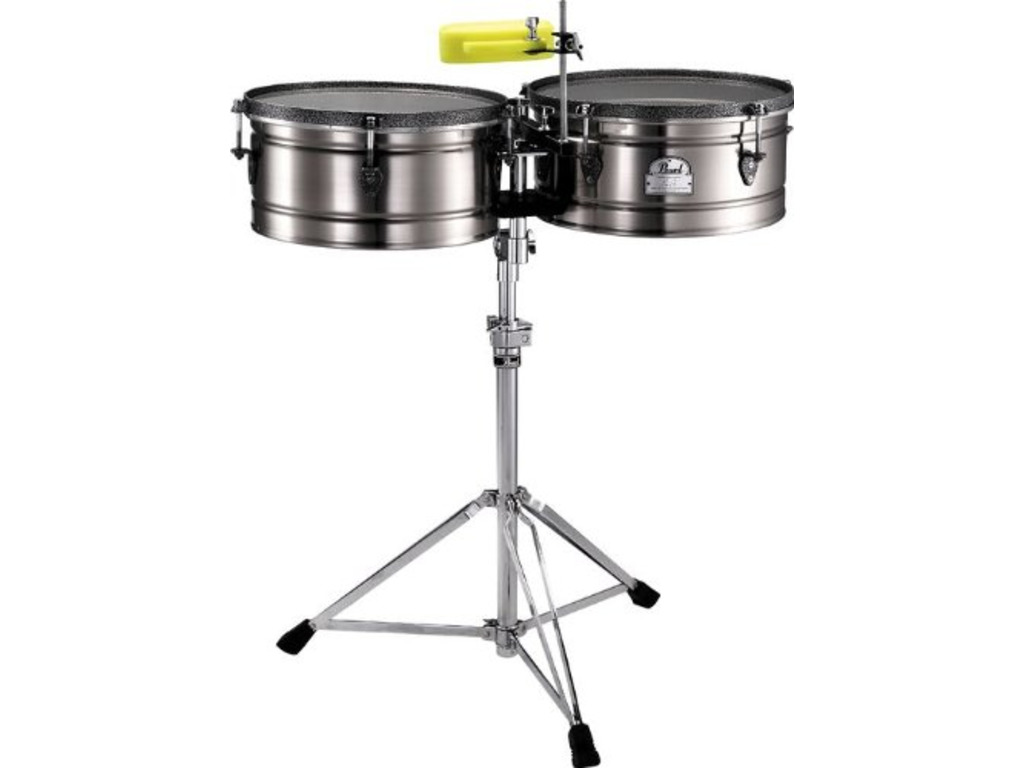 "Timbales Pearl ETE-1415MQ Marc Quinones Signature Timbales, 14"" & 15"", Staal, inclusief statief"