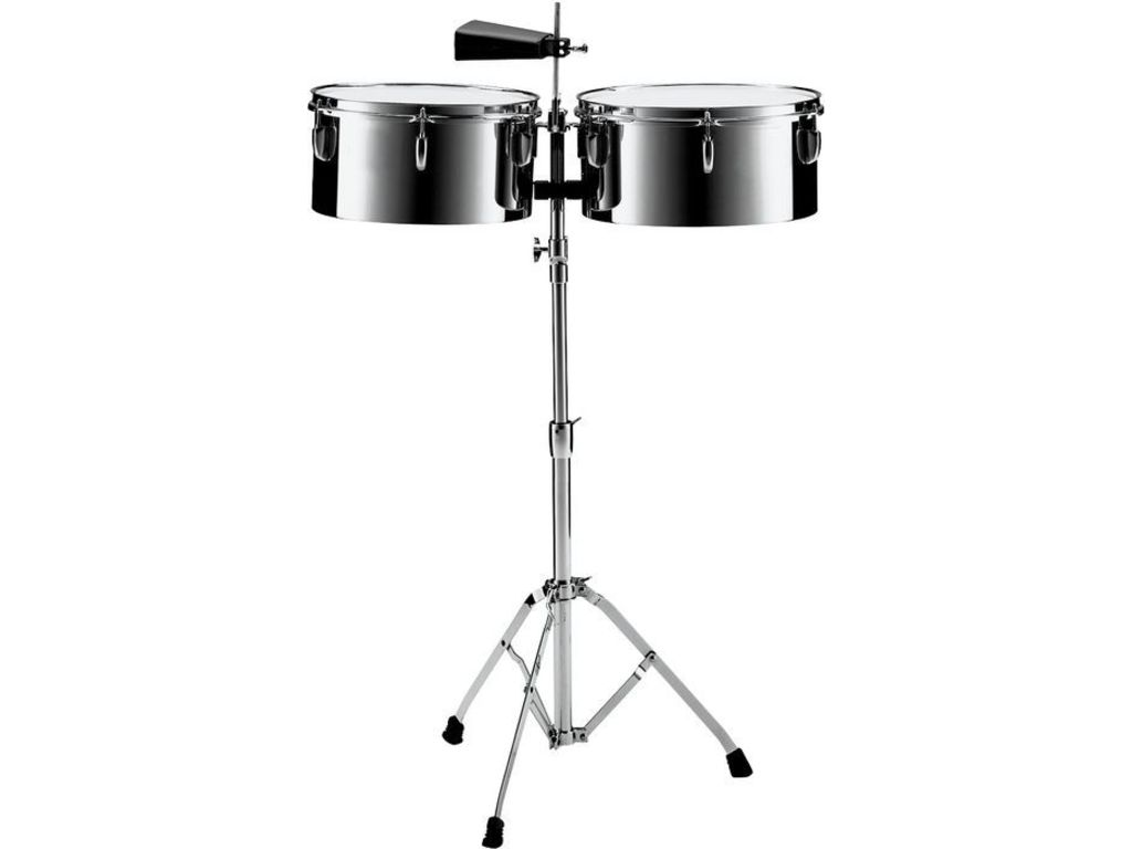 "Timbales Pearl PTS-5134, Primero Timbales, 13"" & 14"", 7"" Diepte, Staal, Inclusief statief"