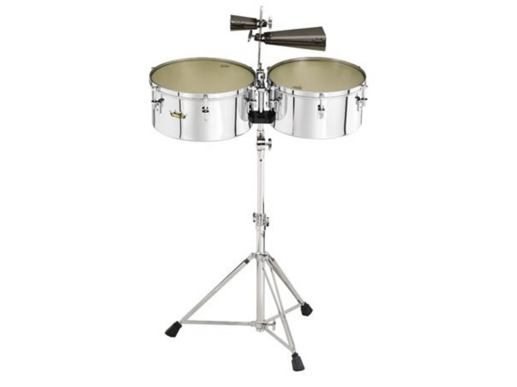 "Timbales Remo TB-1314-VC, Valencia Timbales, 13"" & 14"", Chroom, inclusief statief"