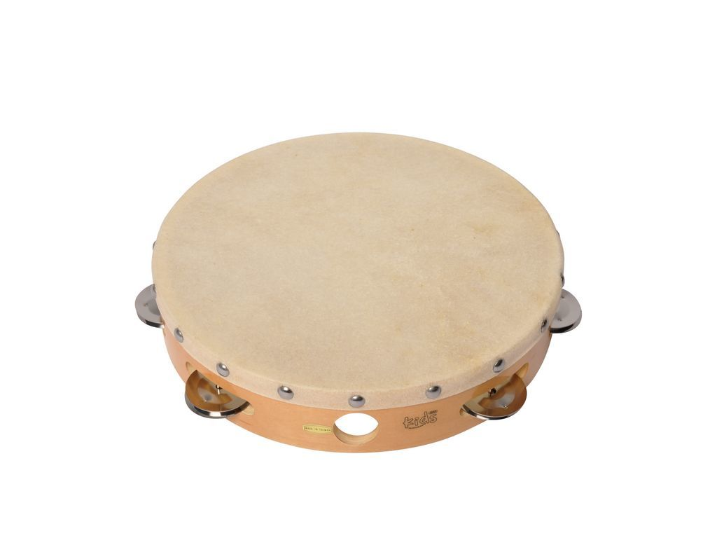 "Tambourine Adams Kids ATW-10, Tambourine with Head, 10"", Wood, Natural"