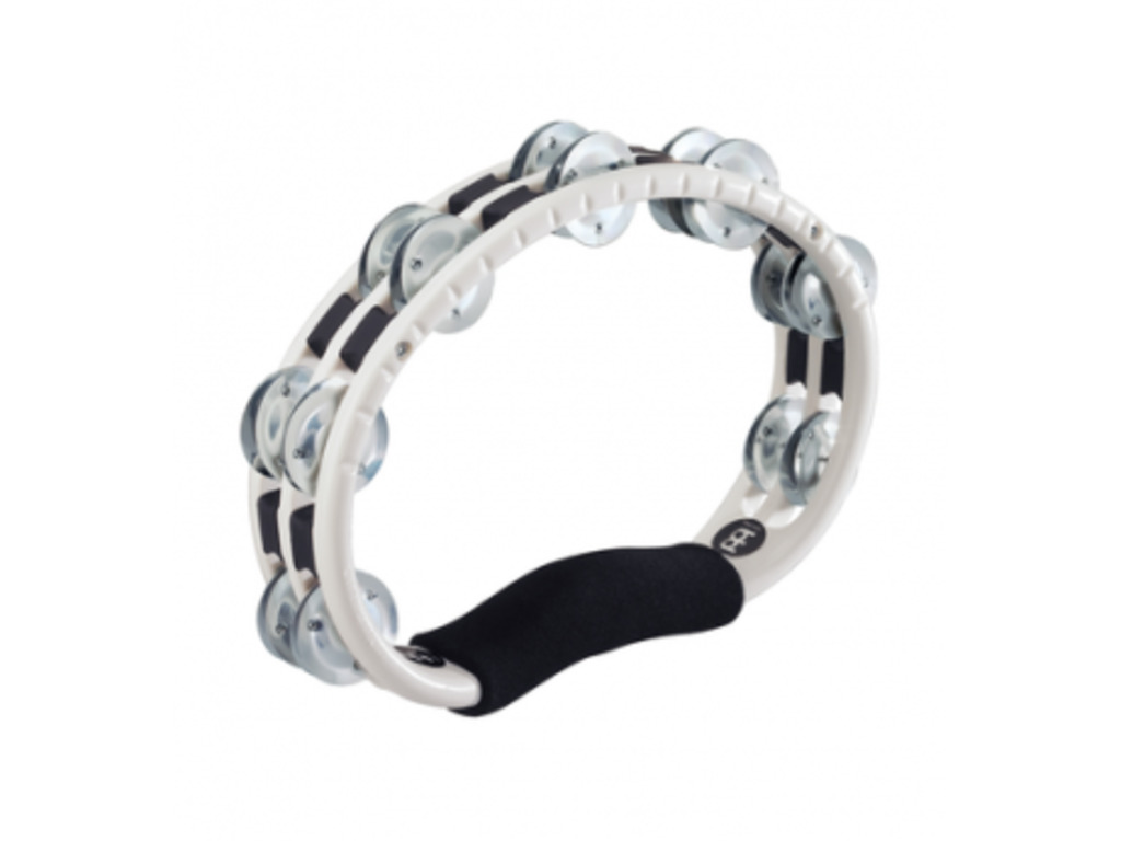 Tambourine Meinl TMT1A-WH, traditional ABS plastic Tambourine, Hand Model, double row Jingles, aluminium, white