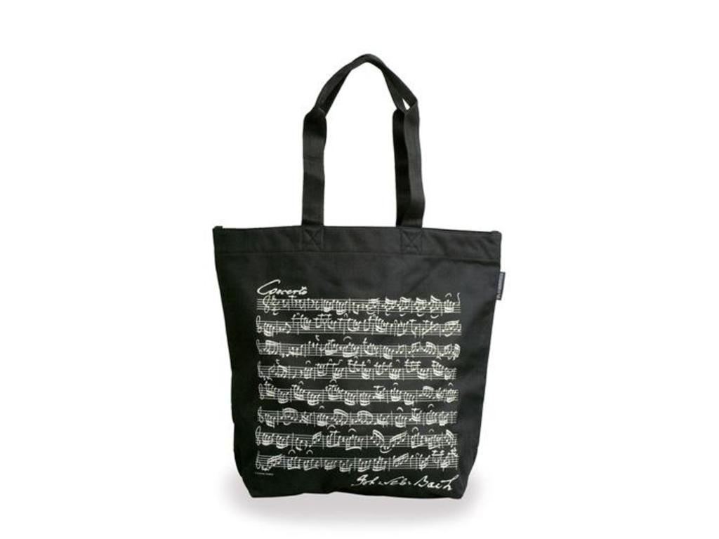 Carrying bag, Black with white muzieknoten, Bach