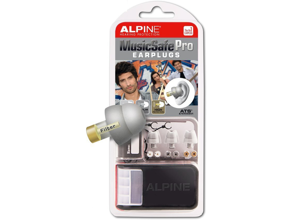 Hearing Protection Alpine, MusicSafe Pro, universal Hearing Protection, Earplugs, Silver Gray