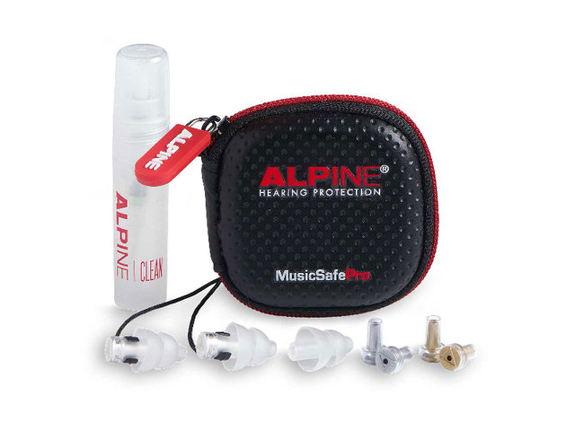 Hearing Protection Alpine, MusicSafe Pro, universal Hearing Protection, Earplugs, Transparent, including etui, cleaning spray