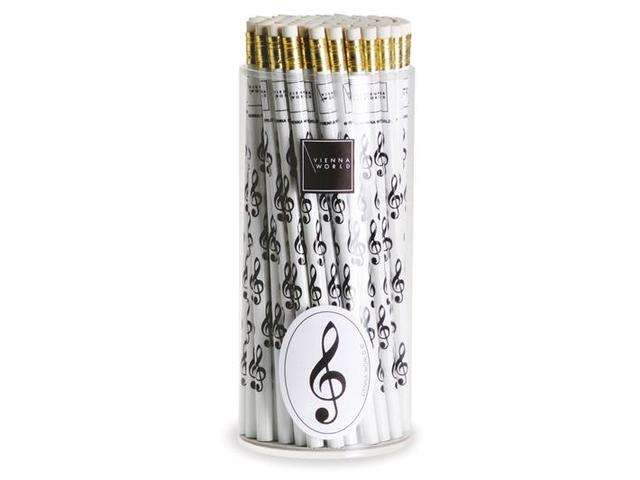 Pencil, white with Black vioolsleutel / G clef print (per piece)