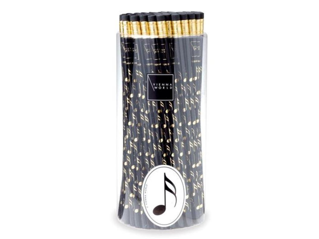 Pencil, Black with Gold muzieknoten (per piece)
