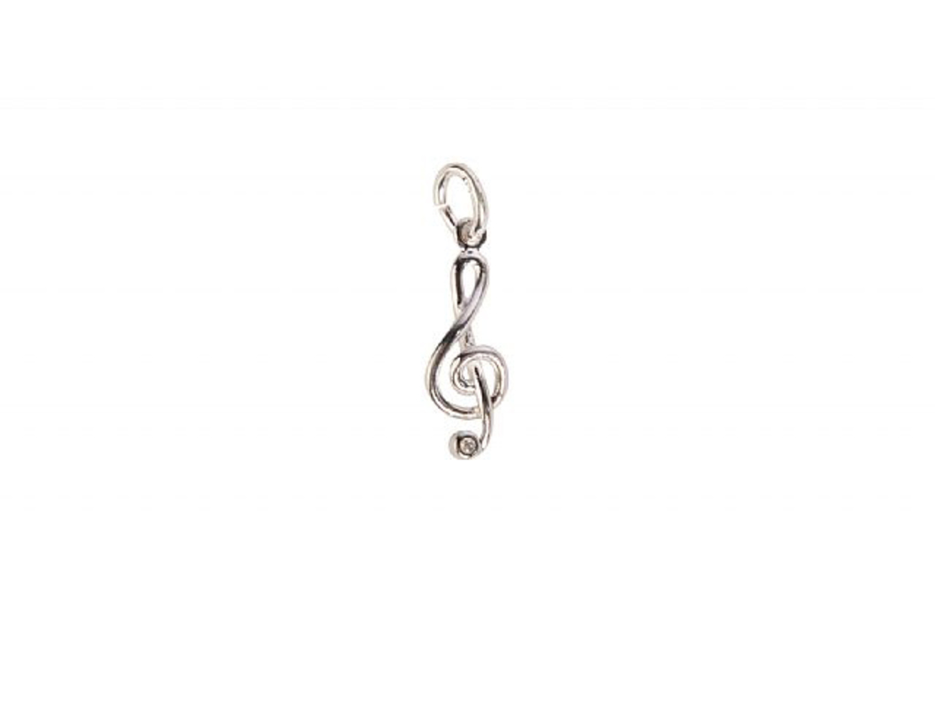 Kettinghanger Art Of Music G Clef / Vioolsleutel, Sterling Silver, Small Model With Edelsteen
