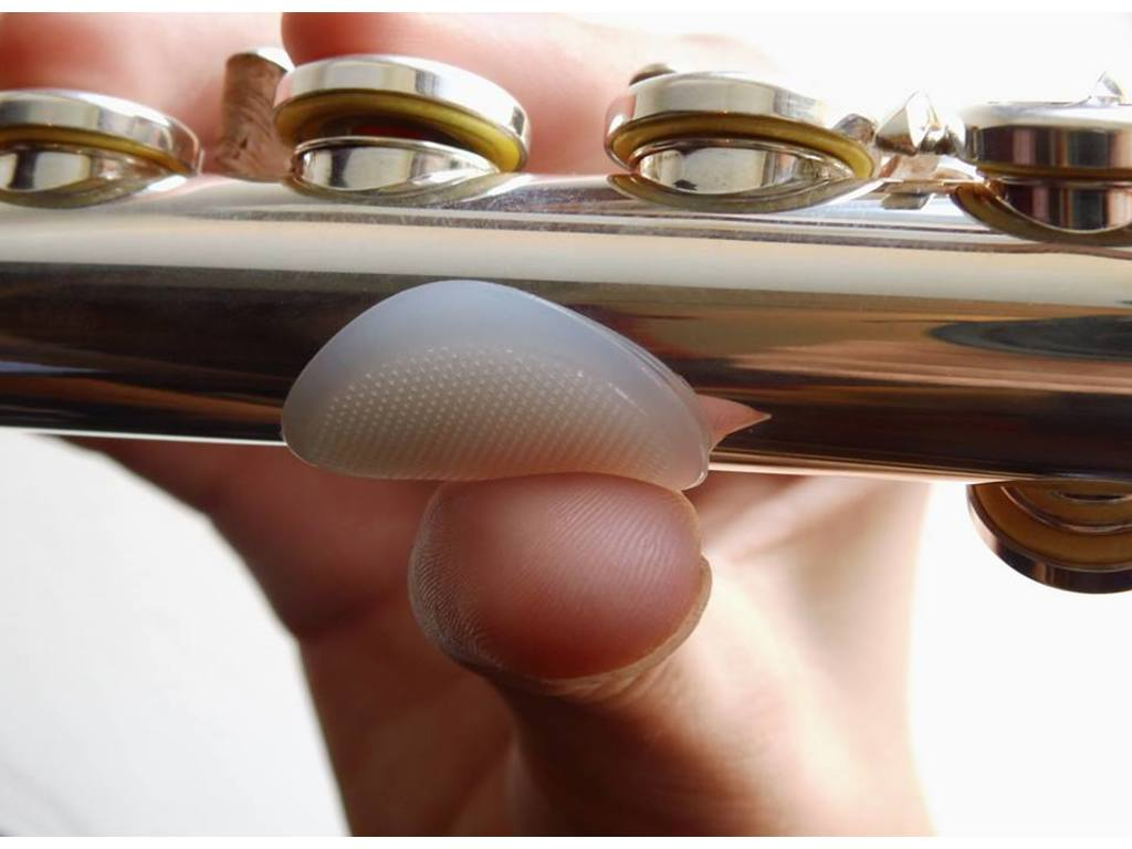 Thumb rest Flute, Dome, silicone greephulp for duim and wijsvinger, Transparent