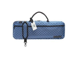 Etui Dwarsfluit Beaumont BFBB-BP, Blue Polka Dot, voor fluit met B-voet