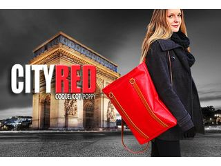 Etui Dwarsfluit Dome, backpack City, Gacela Leather, Red Coquelicot