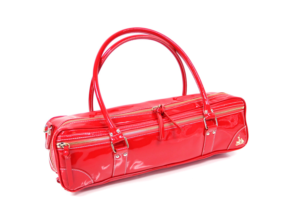 Etui Dwarsfluit Fluterscooter, voor fluit met B-voet. Leather, red patent