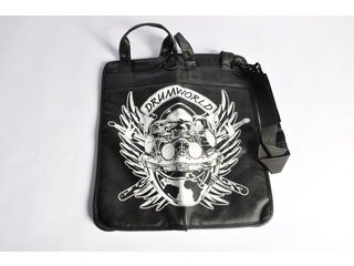 Stick bag Adams Drumworldlogo, sterk uitgevoerd in Black leather with large logo