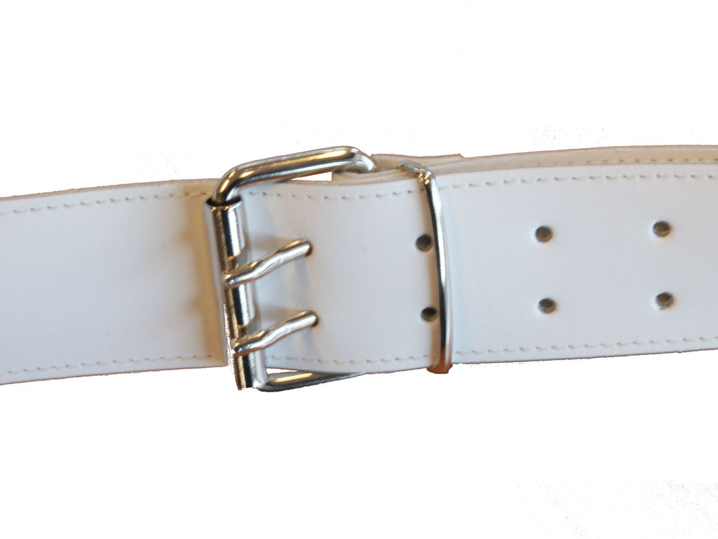 Strap small drum Adams Koppel leather Junior white, chrome beslag