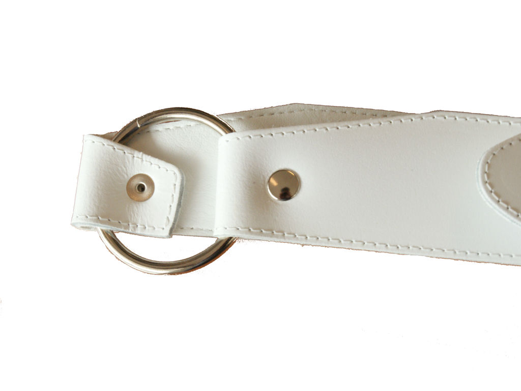Strap Adams Bandelier small drum leather Junior white, chrome beslag