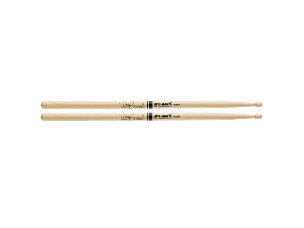 "Drumstokken Promark TXSD9W, Signature Teddy Campbell, Hickory SD9 .610"", Lengte 16 1/4"", Oval, Houten tip"