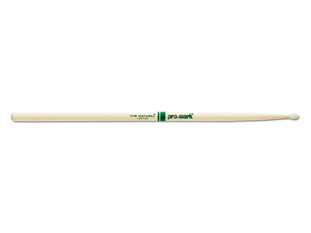 "Drumstokken Promark TXR7AN, ""The Natural"", Hickory (7A) .512"", Lengte 15 3/8"", Oval, Nylon tip"