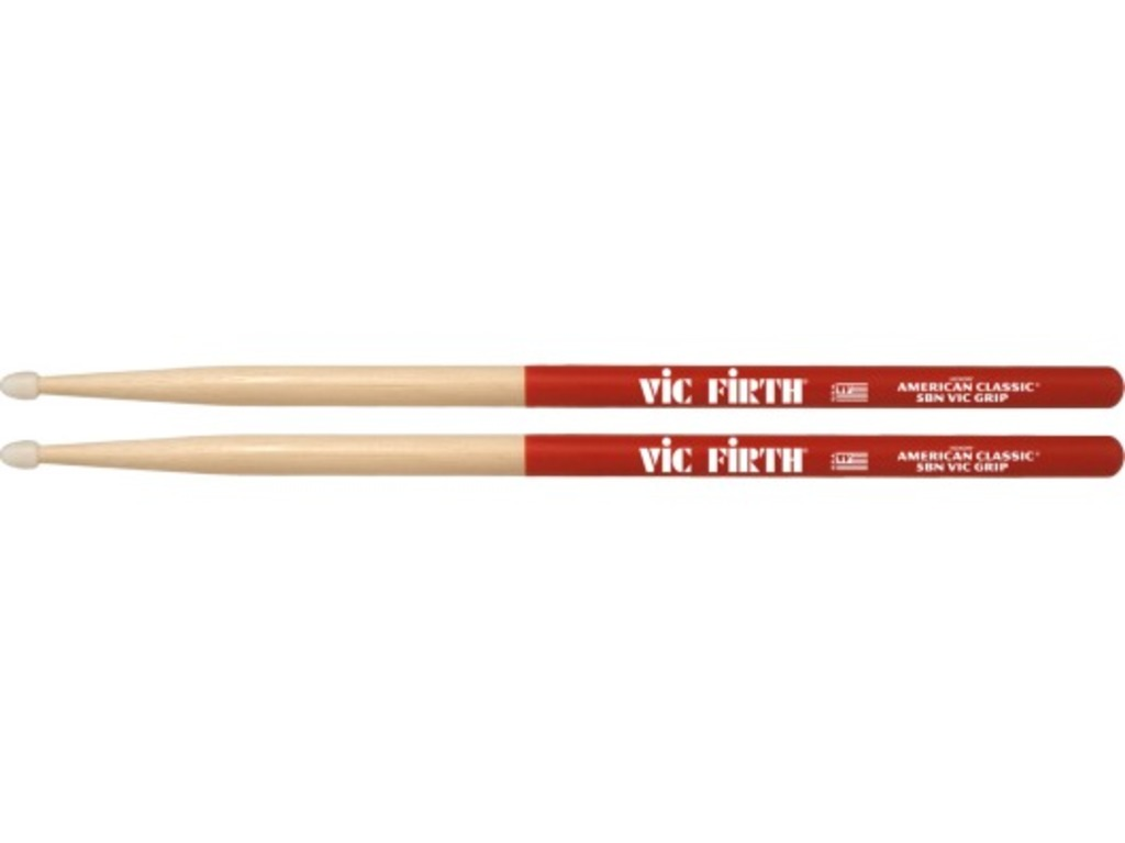"Drumstokken Vic Firth 5BNVG, American Classic, Vic Grip, Hickory 5BN .595"", Lengte 16"", Tear Drop, Nylon Tip"