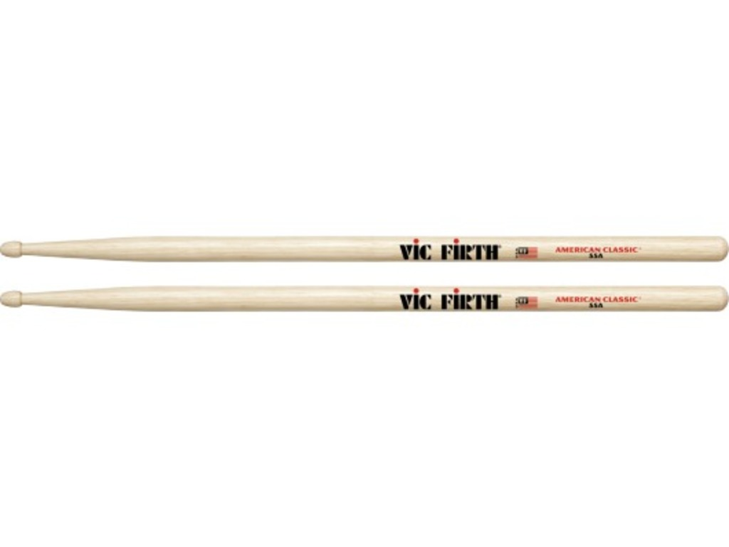 "Drumsticks Vic Firth 55A, American Classic, Hickory 55A .580"", length 16"", Tear Drop, wooden Tip"