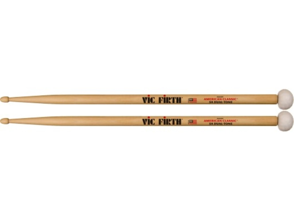 "Drumstokken Vic Firth 5ADT, American Classic Specialty, Dual-Tone, Hickory 5ADT .565"", Lengte 16 1/8"", Tear Drop, Houten tip"