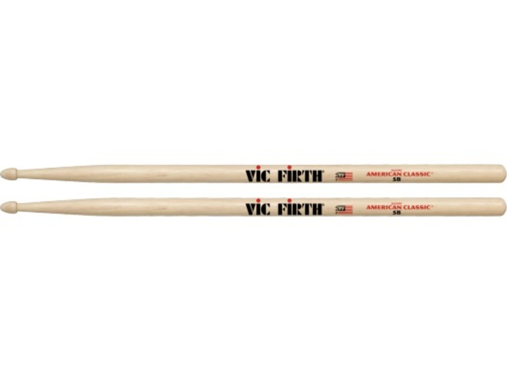 "Drumsticks Vic Firth 5B, American Classic, Hickory 5B .595"", length 16"", Tear Drop, wooden Tip"