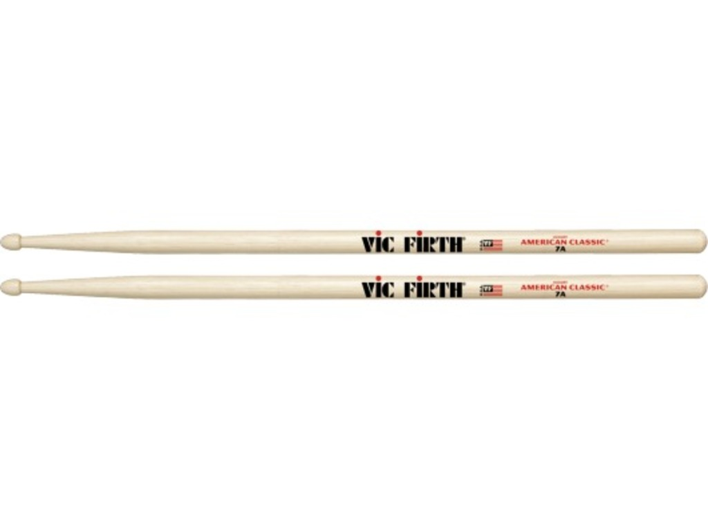 "Drumsticks Vic Firth 7A, American Classic, Hickory 7A .540"", length 15 1/2'', Tear Drop, wooden Tip"