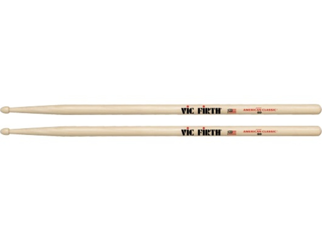 "Drumstokken Vic Firth 8D, American Classic, Hickory 8D .540"", lengte 16'', Tear Drop, Houten Tip"