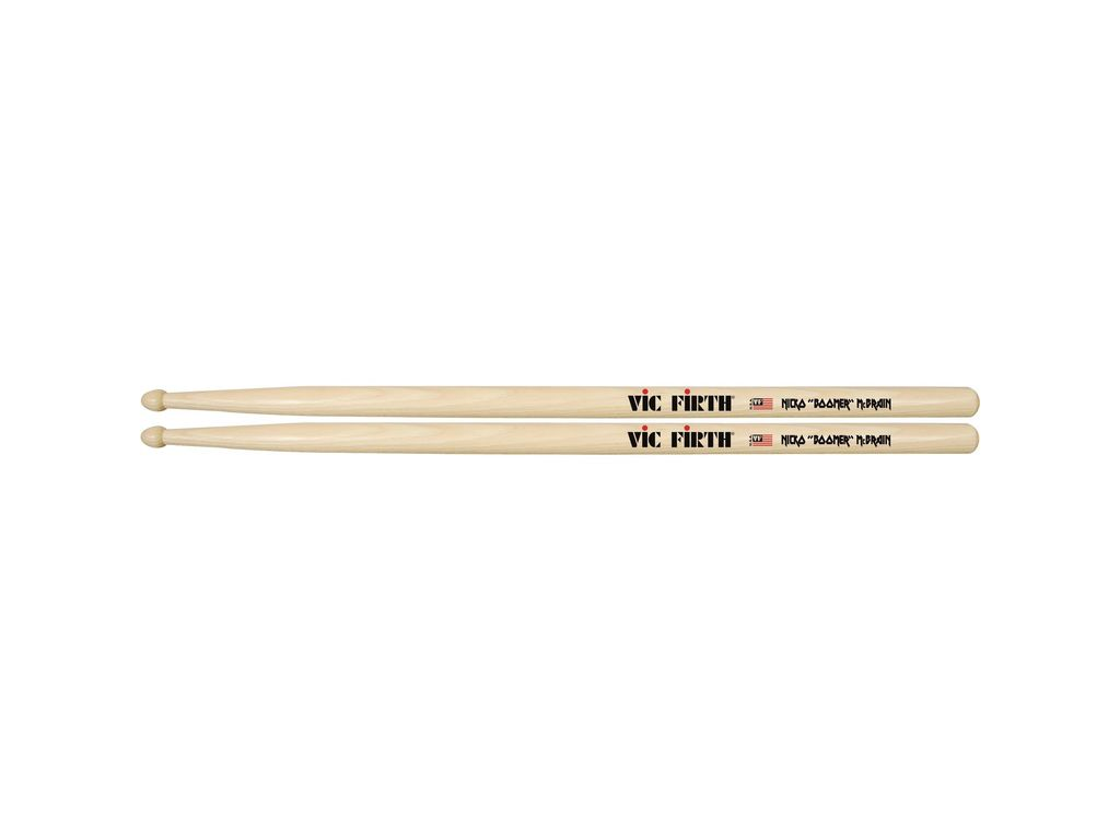 "Drumstokken Vic Firth SNM, Signature Serie, Nicko McBrain, Hickory SNM .595"", Lengte 16"", Tear Drop, Houten Tip"