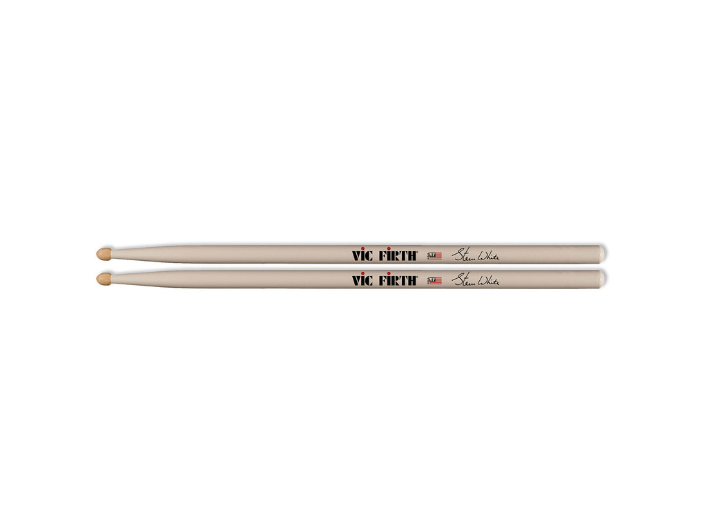 "Drumstokken Vic Firth SSW, Signature Serie, Steve White, Hickory SSW .585"", Lengte 16 1/4"", Tear Drop, Houten Tip"