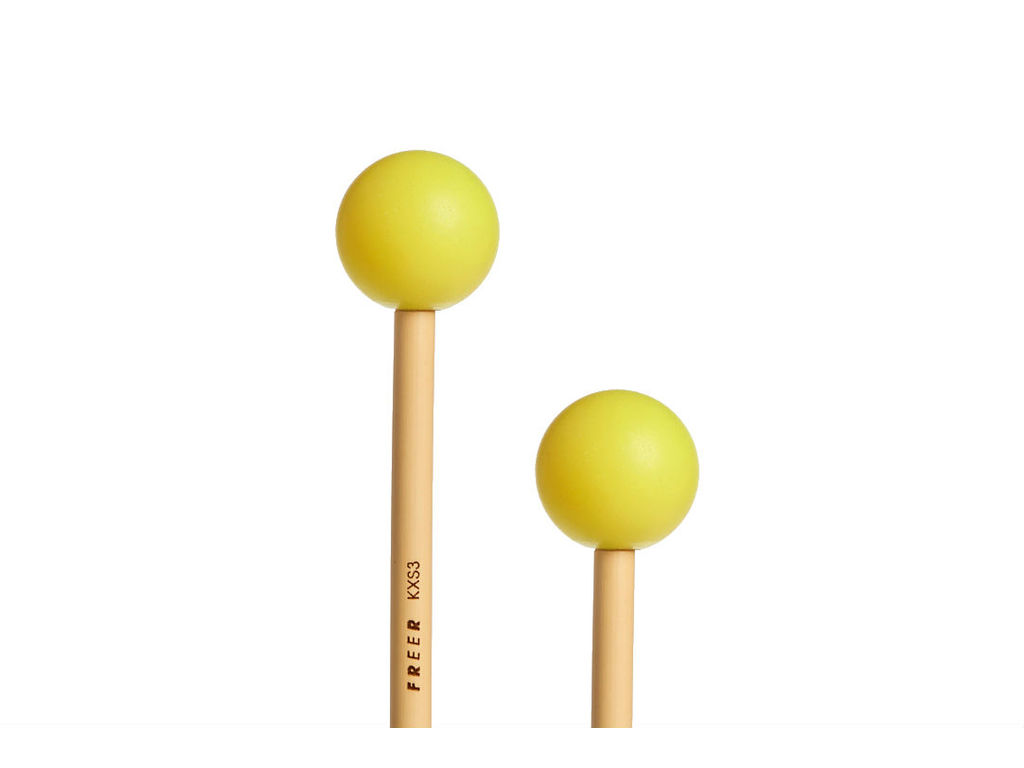 Xylofoon Mallets Freer KXS3, Medium, Geel Polyester, met messing kern, Rattan