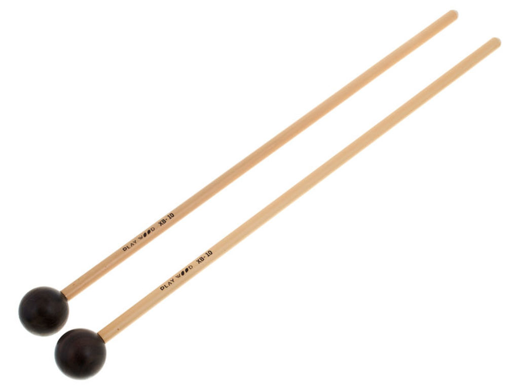 Xylofoon / Klokkenspel Mallets Playwood XB-10, Diameter 28 x 350mm, Bal, Ebony, Heel Hard, Rattan