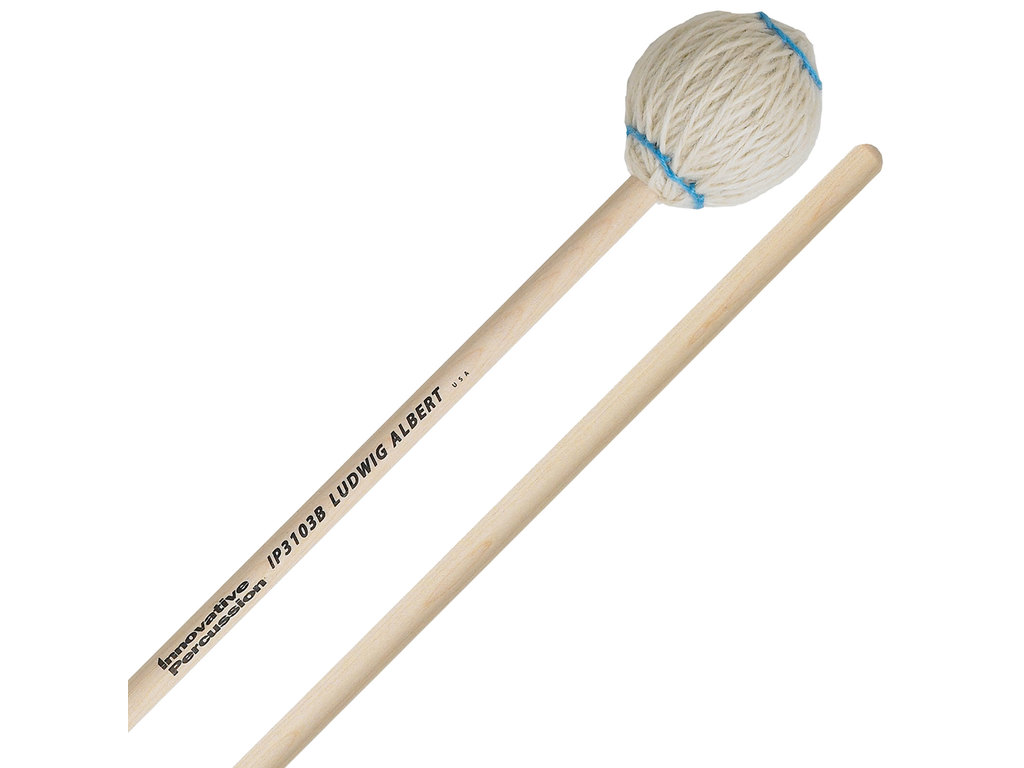Marimba Mallet Innovative Percussion IP 3103B, Ludwig Albert Serie, Zacht, Wit Garen, Berken