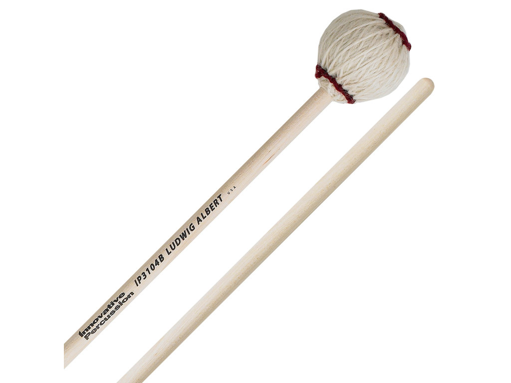 Marimba Mallet Innovative Percussion IP 3104B, Ludwig Albert Serie, Medium Zacht, Wit Garen, Berken