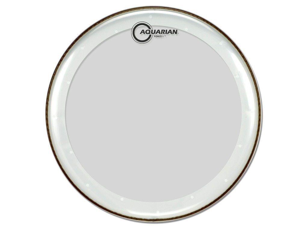 "Bassdrum Vel Aquarian FB20, Force I, 1-ply 20"", clear met dempring"
