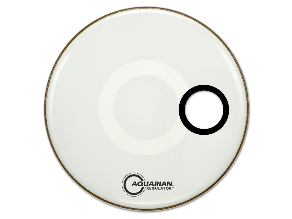 "Bassdrum Vel Aquarian RSM22WH, Regulator 22"", 4.75"" gat, wit"